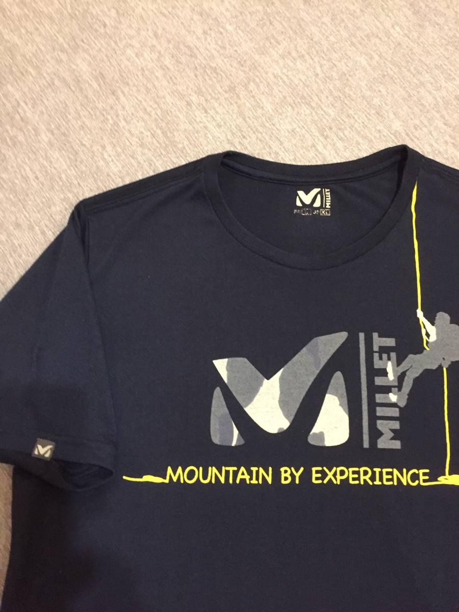 美品 MILLET ミレー トレッキング クルーネック 吸汗速乾 Tシャツ XLサイズ クライミング アウトドアアイテム 人気商品 ダークネイビー_画像10
