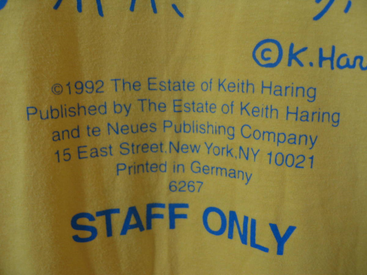 90's Keith Haring 94 STAFF ONLY Vintage Tee size L キースヘリング ビンテージ Tシャツ イエロー 唐津東_画像5
