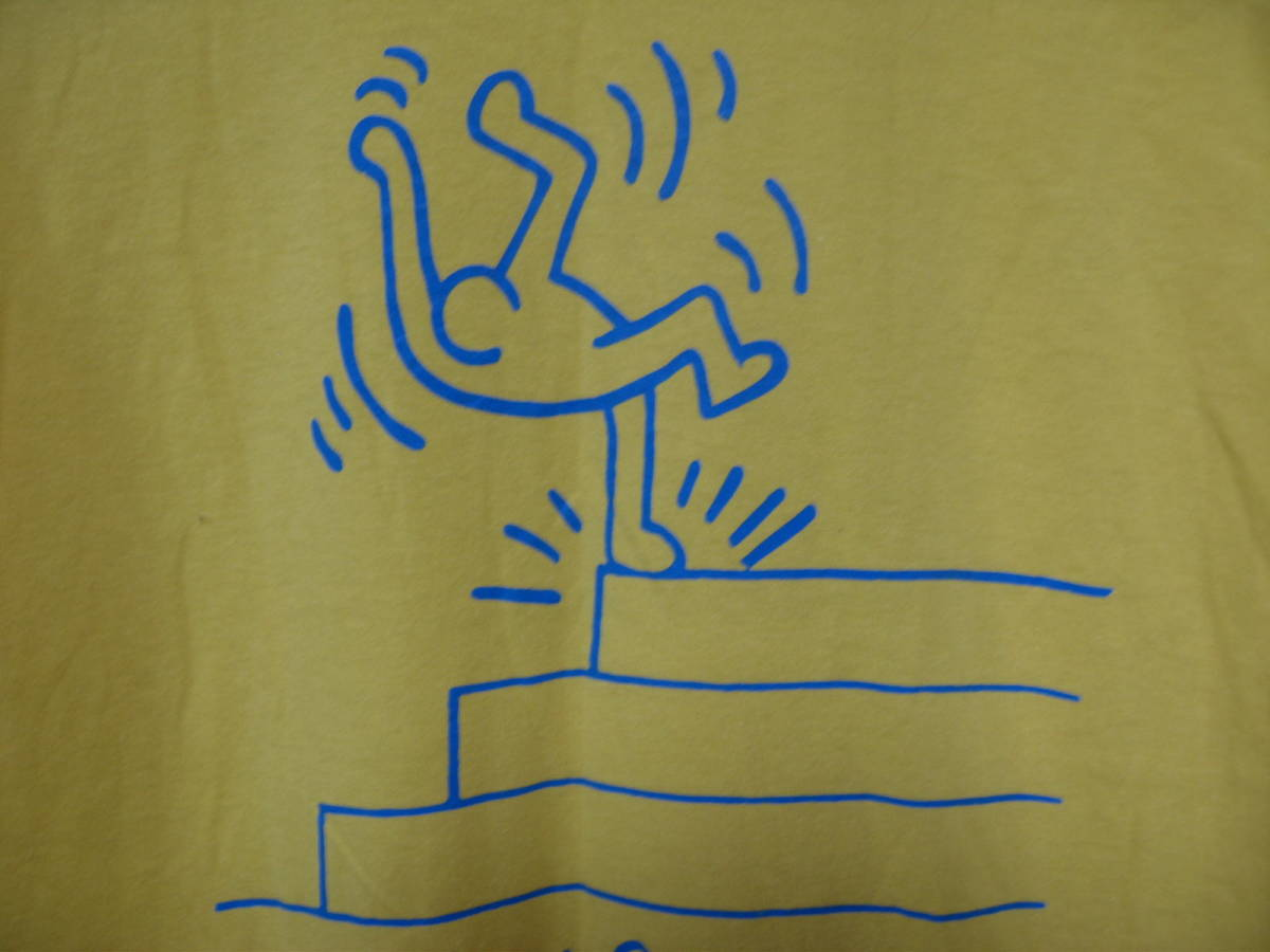 90's Keith Haring 94 STAFF ONLY Vintage Tee size L キースヘリング ビンテージ Tシャツ イエロー 唐津東_画像9