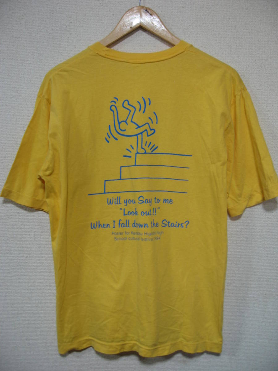 90's Keith Haring 94 STAFF ONLY Vintage Tee size L キースヘリング ビンテージ Tシャツ イエロー 唐津東_画像2