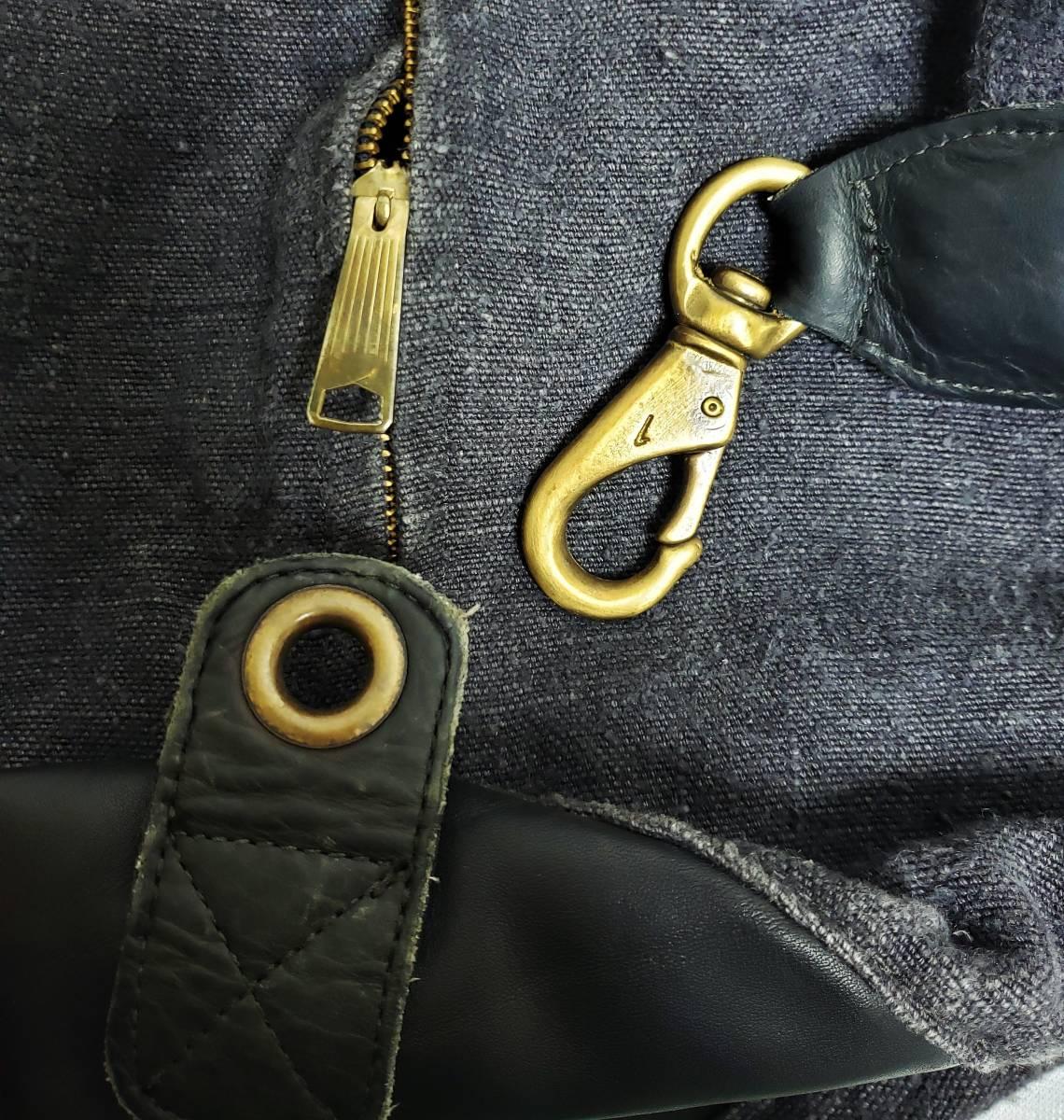 希少 80 90 年代 ヴィンテージ 真鍮金具 ダナキャラン DKNY ボトムレザー リネン ダッフル ショルダー バッグ ランドリー 鞄 ボディー 麻_画像9