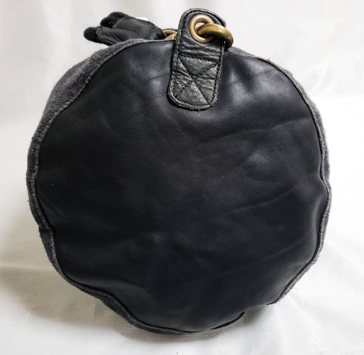 希少 80 90 年代 ヴィンテージ 真鍮金具 ダナキャラン DKNY ボトムレザー リネン ダッフル ショルダー バッグ ランドリー 鞄 ボディー 麻_画像8
