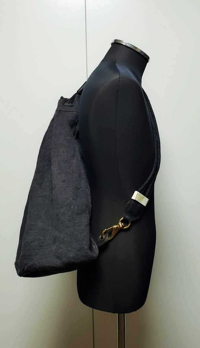 希少 80 90 年代 ヴィンテージ 真鍮金具 ダナキャラン DKNY ボトムレザー リネン ダッフル ショルダー バッグ ランドリー 鞄 ボディー 麻