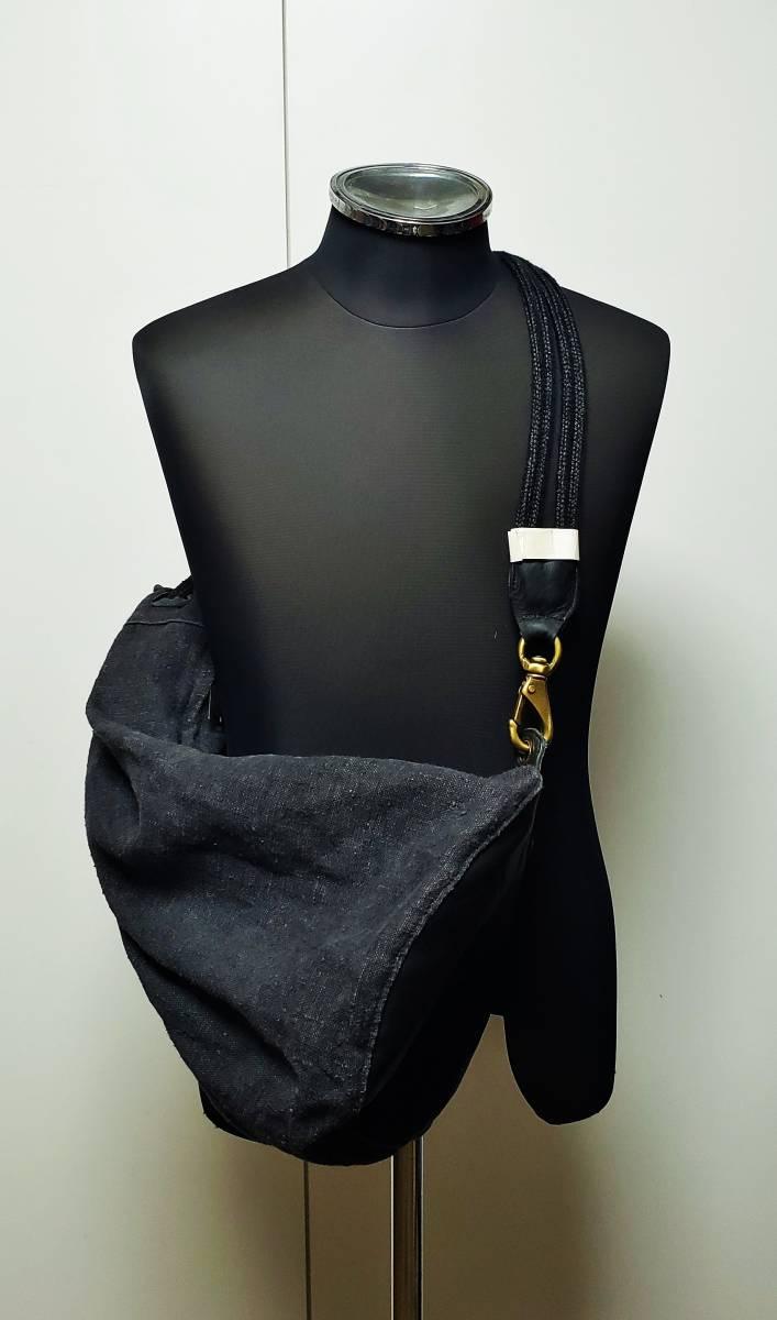 希少 80 90 年代 ヴィンテージ 真鍮金具 ダナキャラン DKNY ボトムレザー リネン ダッフル ショルダー バッグ ランドリー 鞄 ボディー 麻_画像2
