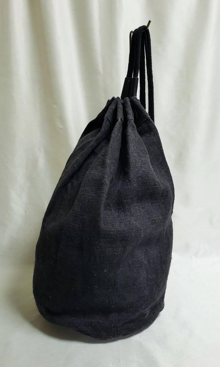 希少 80 90 年代 ヴィンテージ 真鍮金具 ダナキャラン DKNY ボトムレザー リネン ダッフル ショルダー バッグ ランドリー 鞄 ボディー 麻_画像5