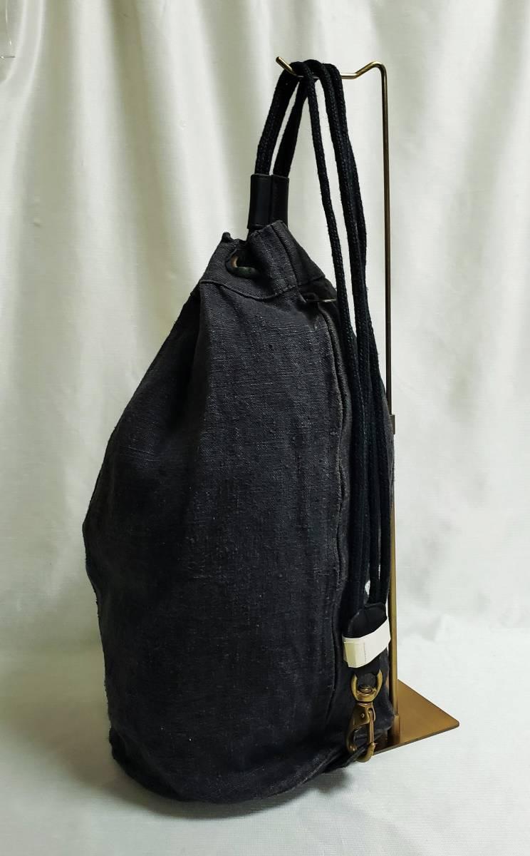 希少 80 90 年代 ヴィンテージ 真鍮金具 ダナキャラン DKNY ボトムレザー リネン ダッフル ショルダー バッグ ランドリー 鞄 ボディー 麻_画像6