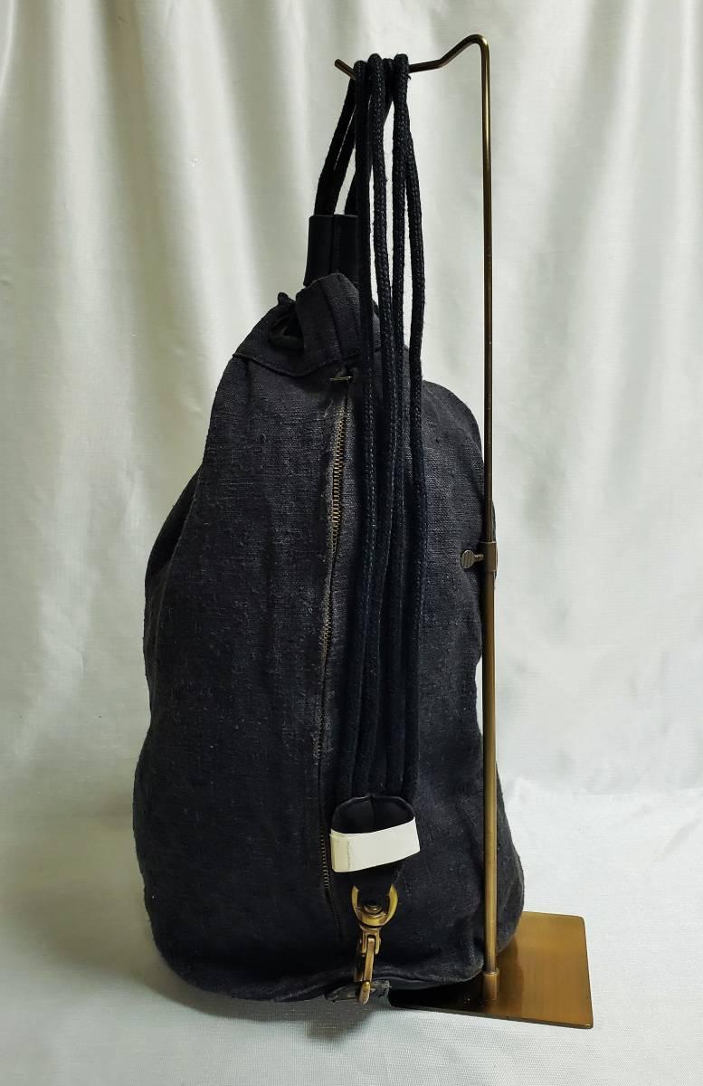 希少 80 90 年代 ヴィンテージ 真鍮金具 ダナキャラン DKNY ボトムレザー リネン ダッフル ショルダー バッグ ランドリー 鞄 ボディー 麻_画像7