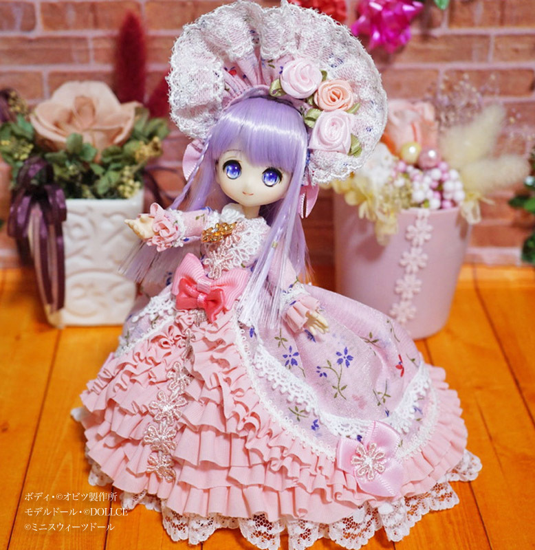 【恋鞠堂】オビツ11サイズ・クラシカルドレス(フローラルピンク)