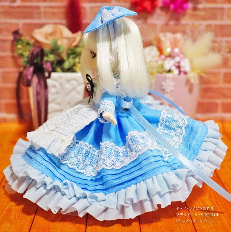 【恋鞠堂】オビツ11サイズ・青空のエプロンドレスセット(スカイブルー)_画像3