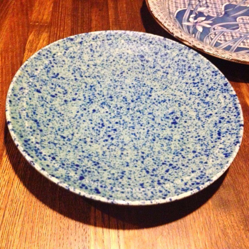 2枚セット昭和レトロ 藍色の中皿 古民家カフェなどに 日本製 ヴィンテージ 古道具_画像2
