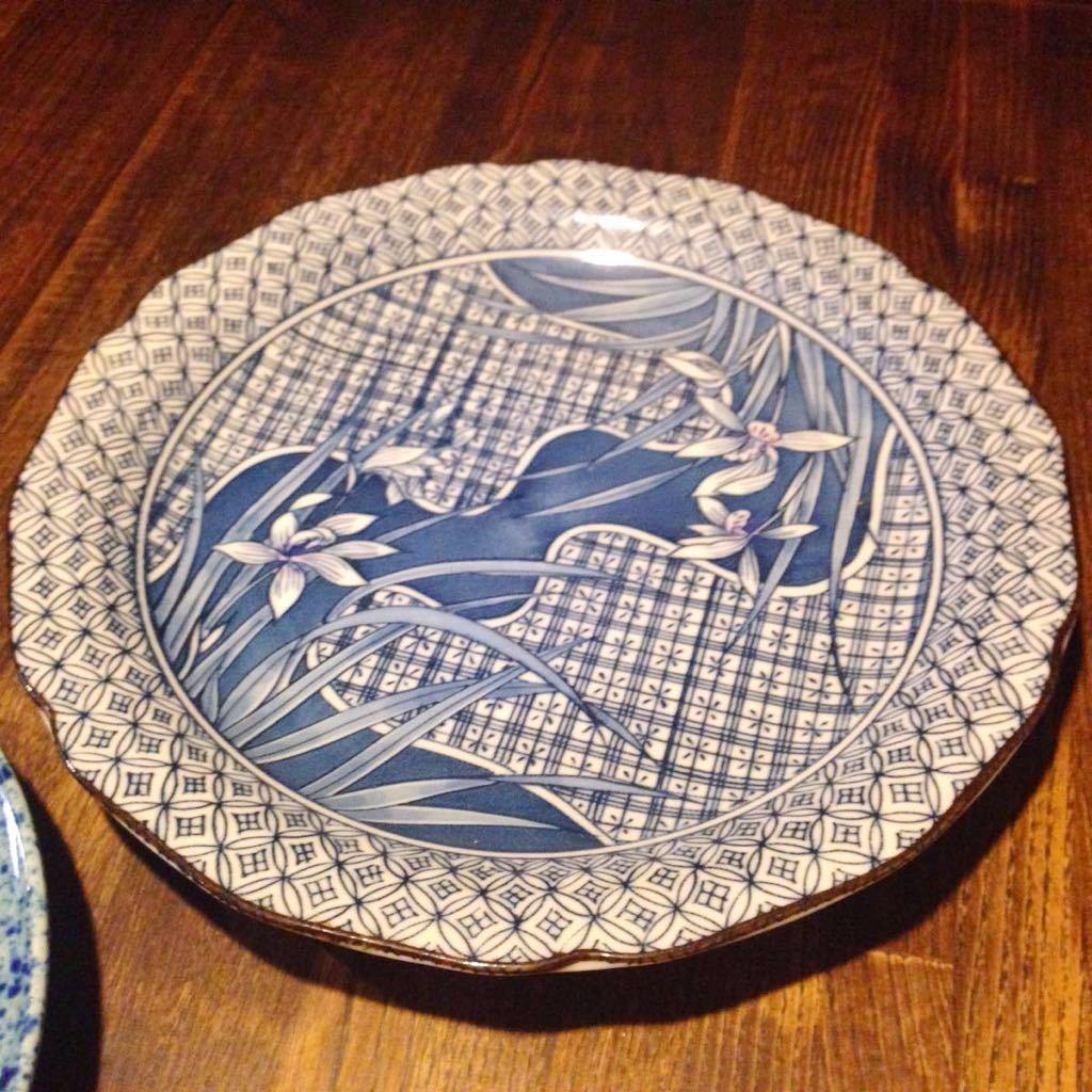 2枚セット昭和レトロ 藍色の中皿 古民家カフェなどに 日本製 ヴィンテージ 古道具_画像3