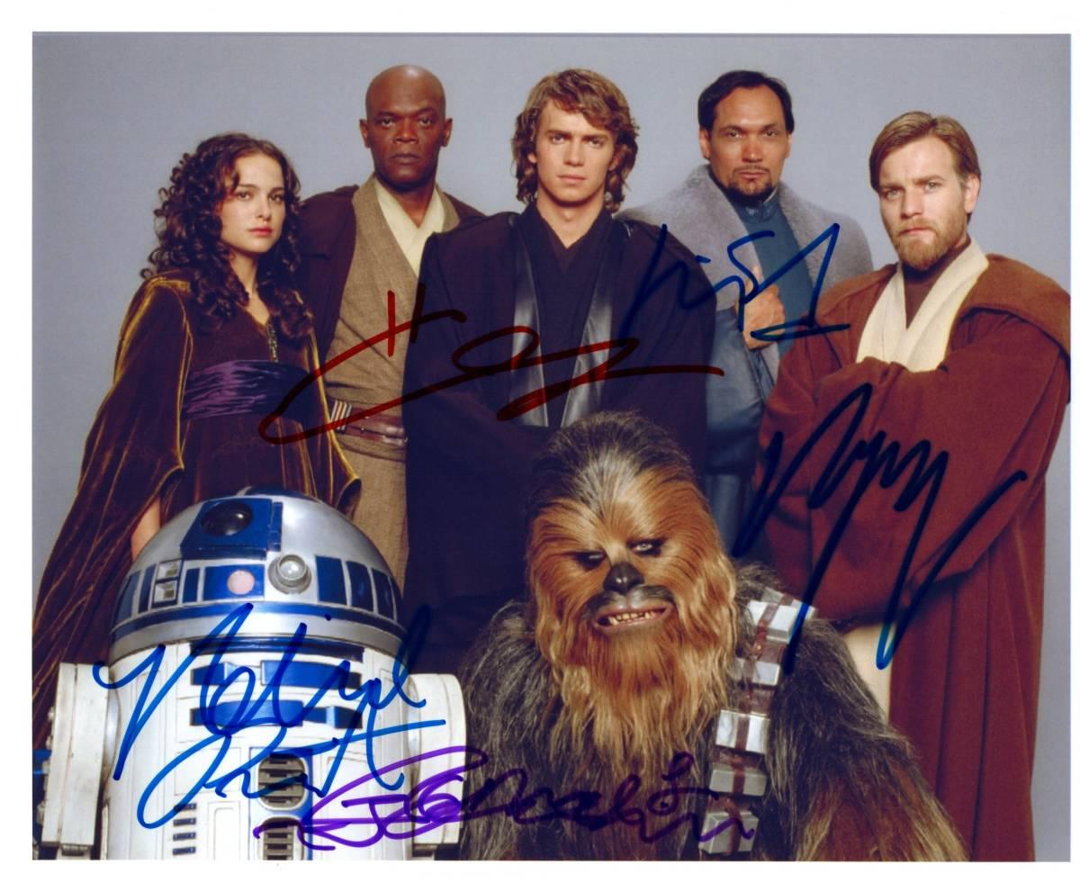 スター・ウォーズ Star Wars キャスト直筆サイン入り写真  ナタリー・ポートマン ヘイデン・クリステンセン ユアン・マクレガー・・