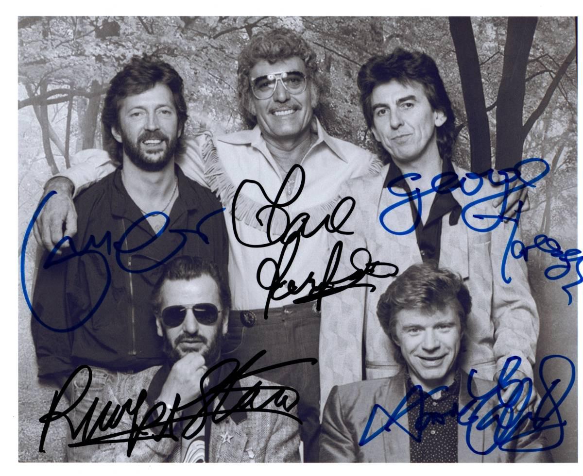 エリック・クラプトン、カール・パーキンス、ジョージ・ハリスン、リンゴ・スター、デイヴ・エドモンズ 直筆サイン入り写真 証明書付き