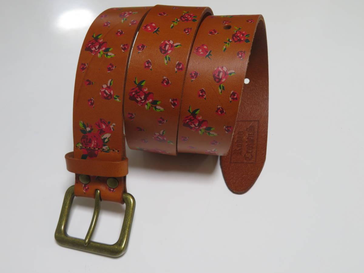 Rodeo Crownsロデオクラウンズ レザーベルト 花柄 1個 ハート型(バックル)レザーベルト ブラウン色 1個 美品_画像6