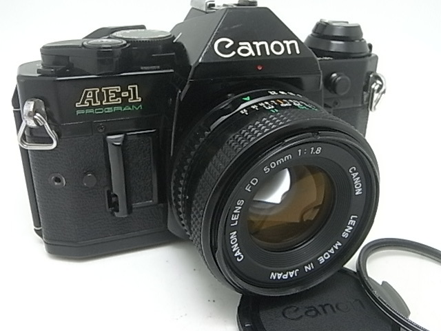 ☆ キャノン Canon AE-1Pプログラム(メンテナンス済み・モルト交換済み)+NEW FD 50mmF1.8(後玉の端に僅かなコーティングハガレ有)☆