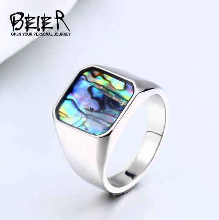 【f0025】BEIER ステンレス チタニウム スチール カラフル シェル 幾何リング 男性 女性 高洗 練された 結婚 指輪 愛 ギフト パンク ロック