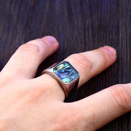 【f0025】BEIER ステンレス チタニウム スチール カラフル シェル 幾何リング 男性 女性 高洗 練された 結婚 指輪 愛 ギフト パンク ロック_画像4