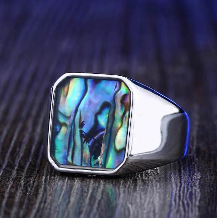 【f0025】BEIER ステンレス チタニウム スチール カラフル シェル 幾何リング 男性 女性 高洗 練された 結婚 指輪 愛 ギフト パンク ロック_画像3