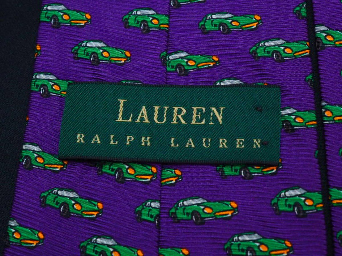 美品 Ralph Lauren ラルフローレン USA アメリカ製【パープル 車 CAR】ネクタイ USED オールド ブランド シルク_画像4