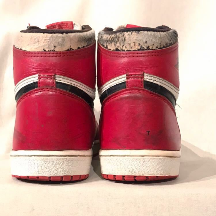 85年製 80s vintage NIKE AIR JORDAN 1 オリジナル 白 赤 黒 US 101/2 / ナイキ ジョーダン Ⅰ CHICAGO シカゴ 白 赤 黒 _画像2