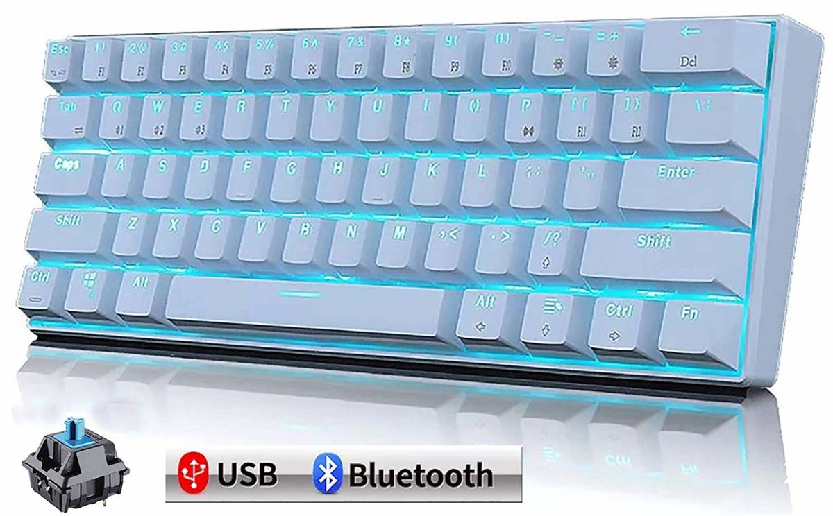 メカニカルキーボード 機械式 ゲーミングキーボード 61キー Bluetooth 無線 USB 有線 LEDバックライト 日本語取扱説明書 (61キー, 白色)_画像1