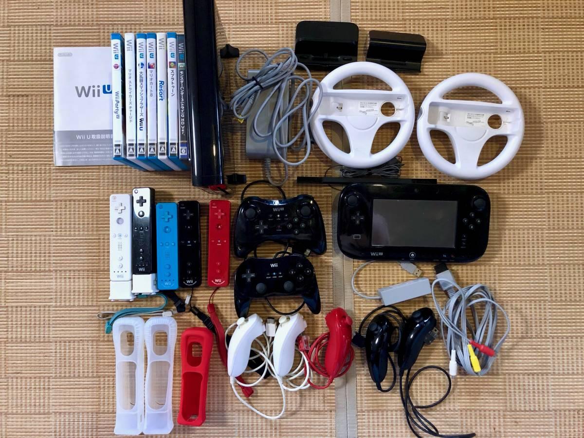 【初期化済】Wii U プレミアムセット 32GB ブラック 本体+コントローラー+ゲームなどおまけ多数