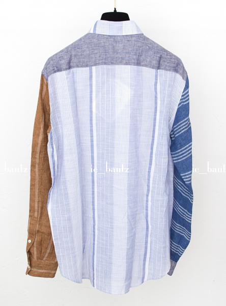 新品 ロエベ リネン パッチワークシャツ39 カラーブロック_画像5