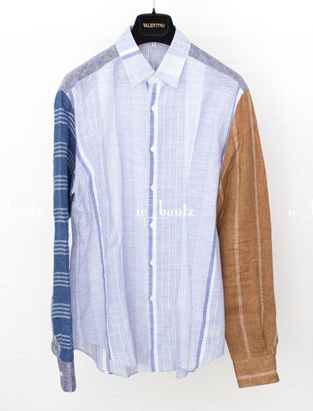 新品 ロエベ リネン パッチワークシャツ39 カラーブロック_画像1