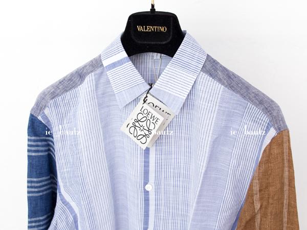 新品 ロエベ リネン パッチワークシャツ39 カラーブロック_画像4