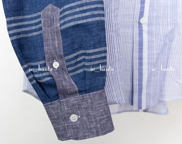 新品 ロエベ リネン パッチワークシャツ39 カラーブロック_画像3