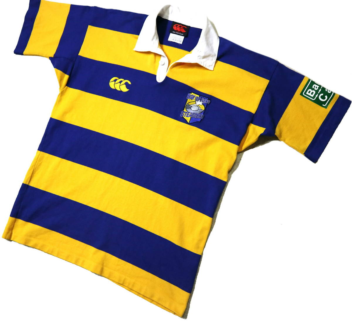 良好!◆NZ製 カンタベリー STEAMERS 刺繍&プリント ラガーシャツ◆やや大きめLサイズ