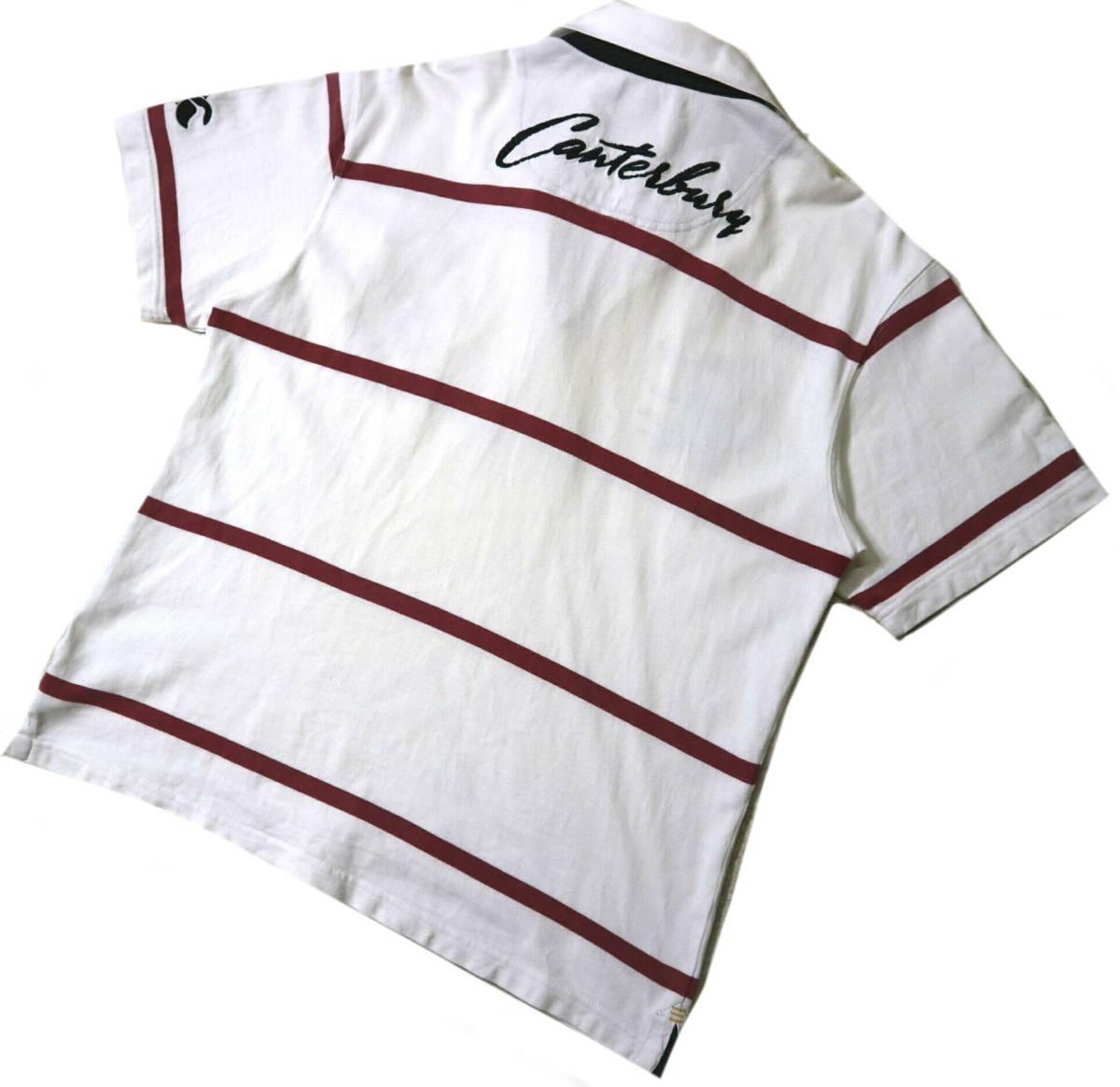 訳あり(薄汚れ)/良好!◆カンタベリー 刺繍ロゴ 綿100地 ラガーシャツ◆Mサイズ_画像2