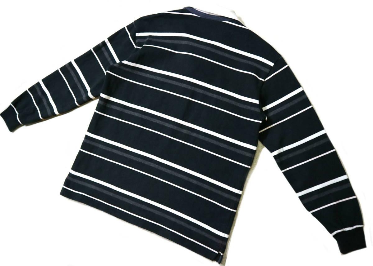 概ね美品!◆カンタベリー ボーダー柄&刺繍ロゴ 綿100地 ラガーシャツ◆Lサイズ_画像2