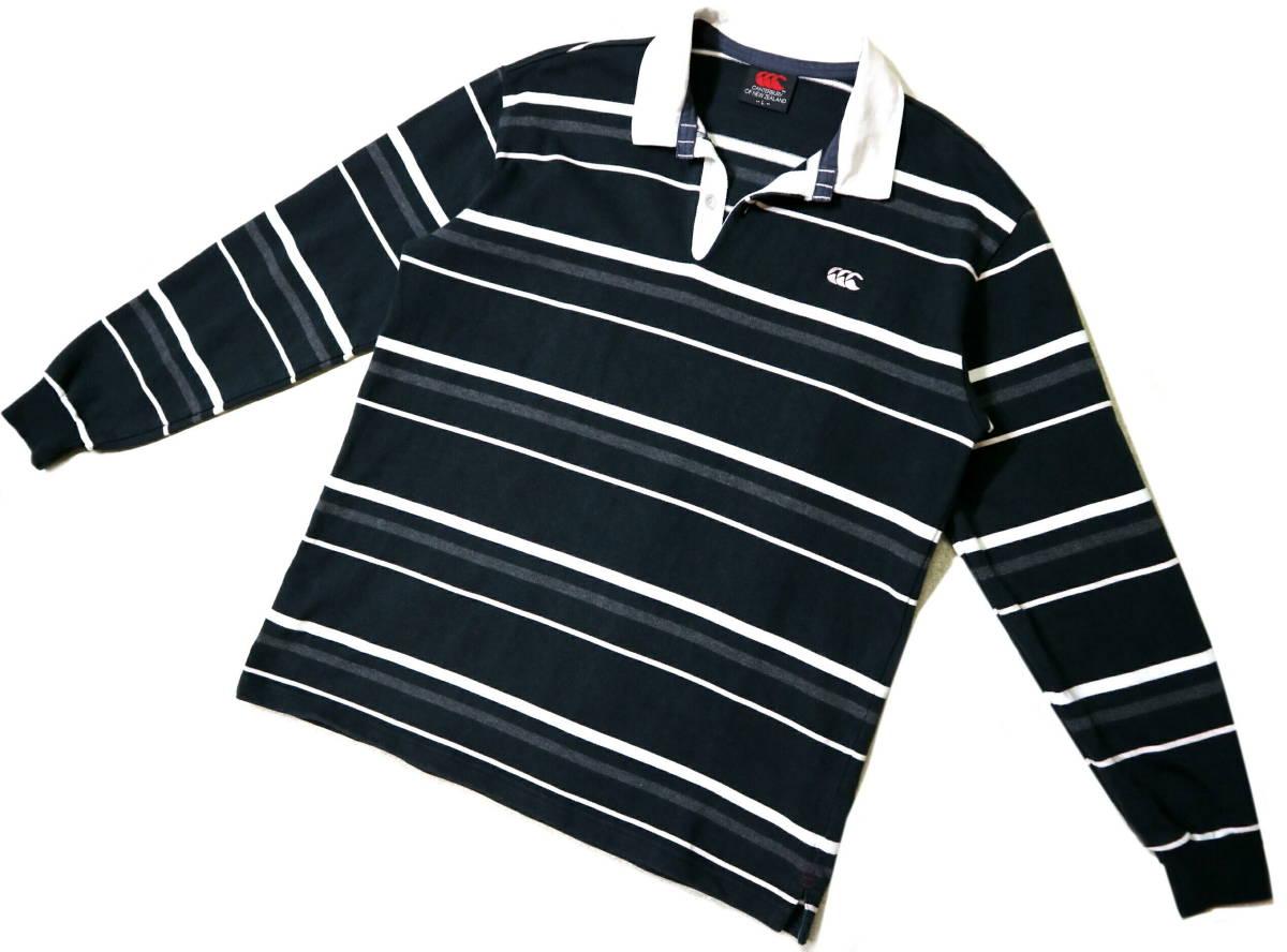 概ね美品!◆カンタベリー ボーダー柄&刺繍ロゴ 綿100地 ラガーシャツ◆Lサイズ