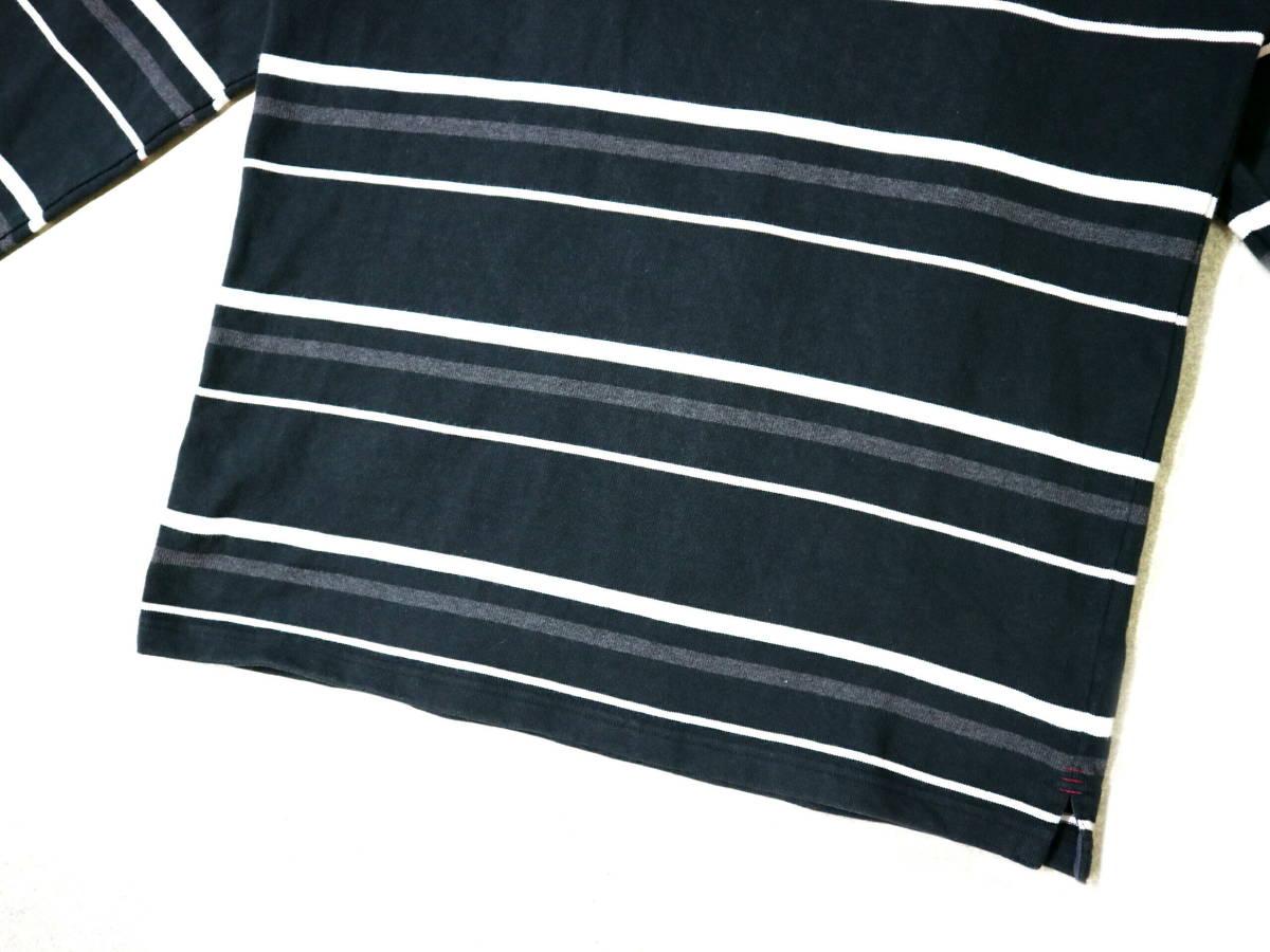 概ね美品!◆カンタベリー ボーダー柄&刺繍ロゴ 綿100地 ラガーシャツ◆Lサイズ_画像4