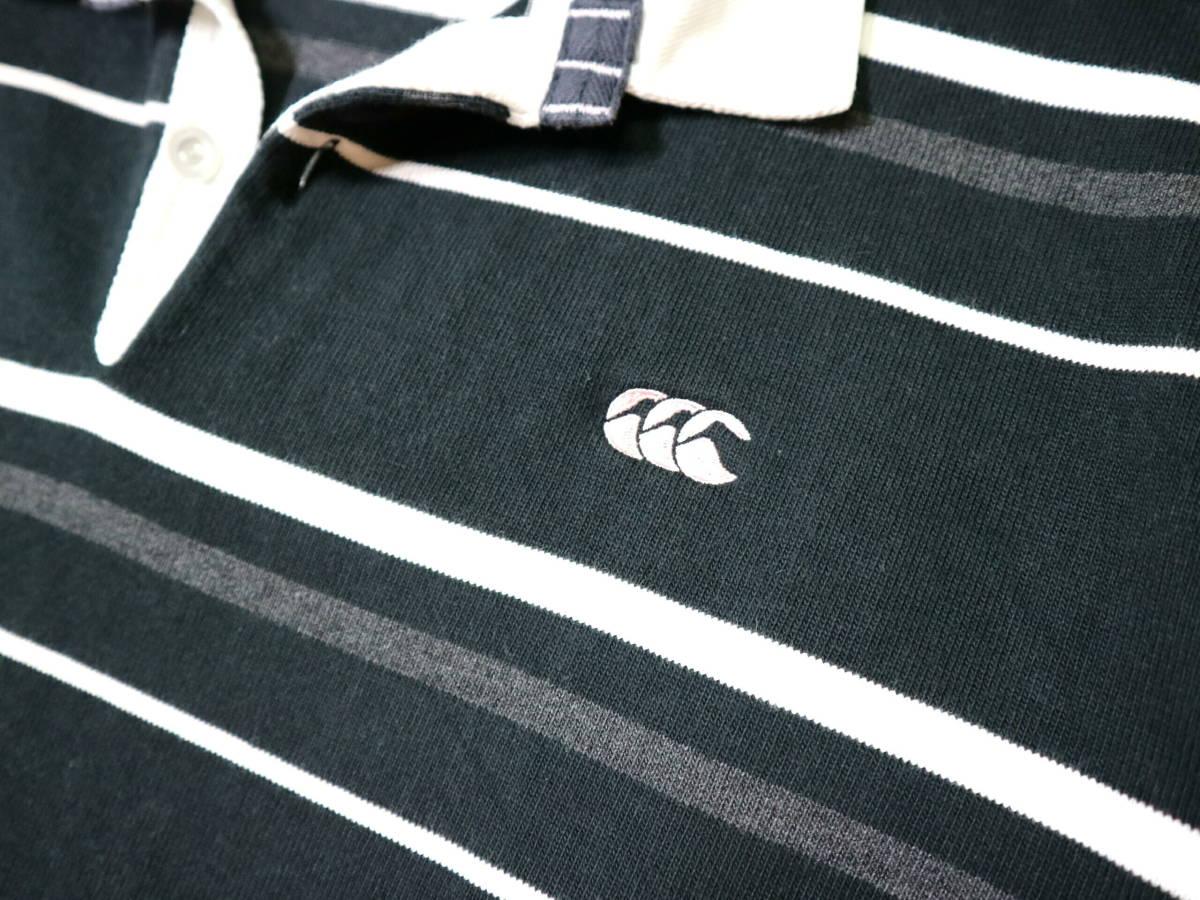 概ね美品!◆カンタベリー ボーダー柄&刺繍ロゴ 綿100地 ラガーシャツ◆Lサイズ_画像5