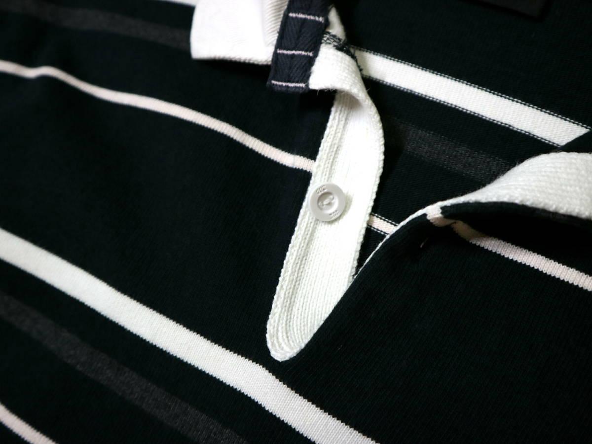 概ね美品!◆カンタベリー ボーダー柄&刺繍ロゴ 綿100地 ラガーシャツ◆Lサイズ_画像6