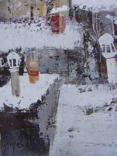 増田 誠【パリの雪】希少画集画、状態良好、人気作家 、新品高級額装付、送料無料、yoshi211_画像3