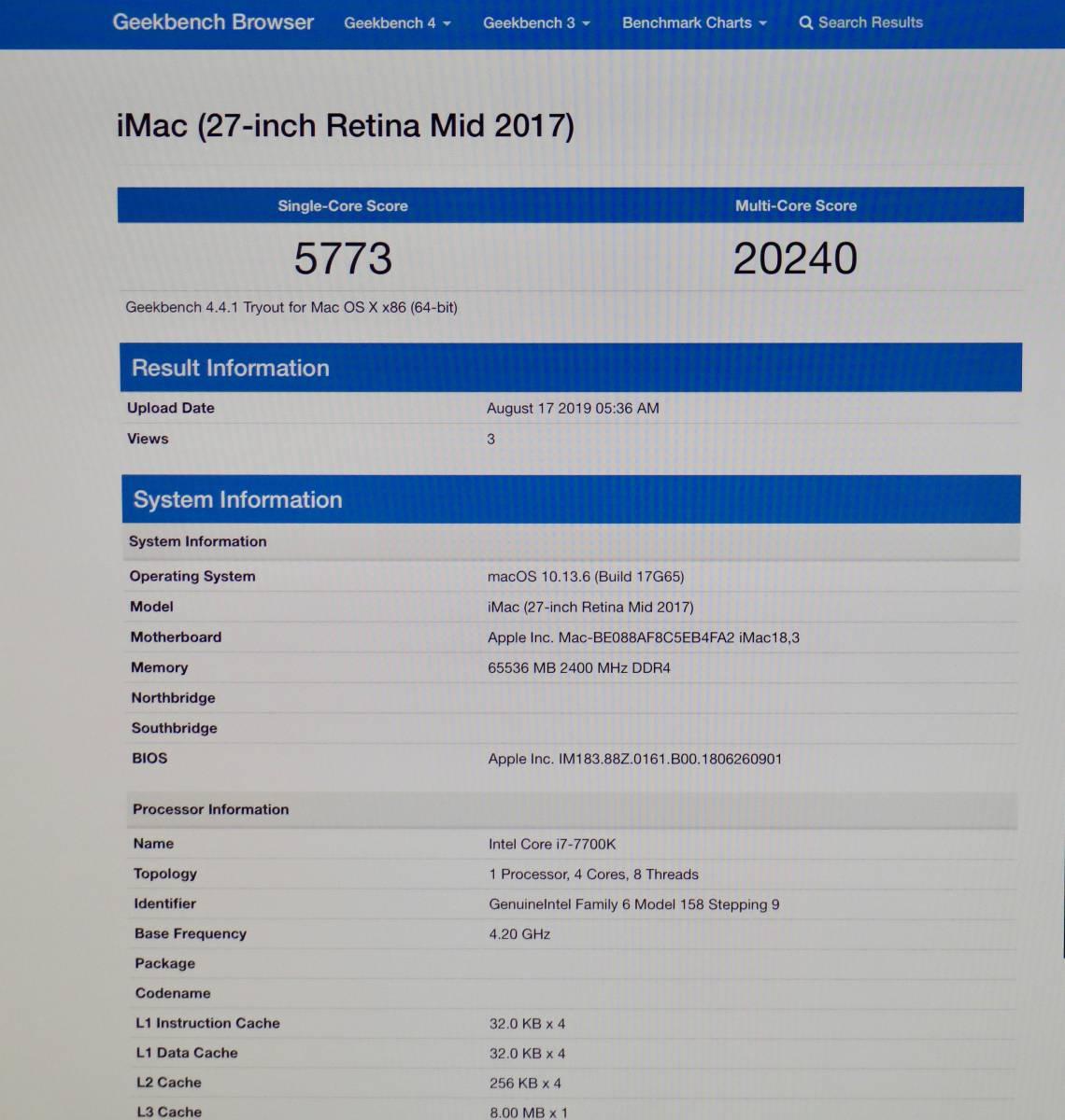 SSD2TB!Apple iMac Retina 5K 27インチ 2017 Core i7 4.2GHz/64GB/Radeon Pro 580 アルティメット_画像4