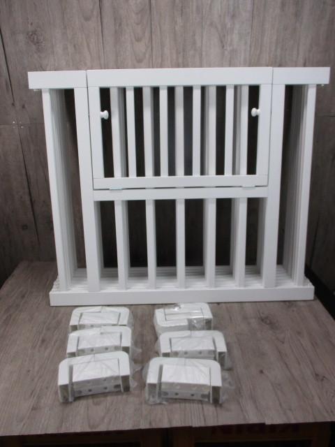 未使用 倉庫品 ハイタイプ ベビーサークル 木製 ジョイント式 高さ70cm 8枚セット 白 ホワイト ベビーフェンス(ペットサークル)