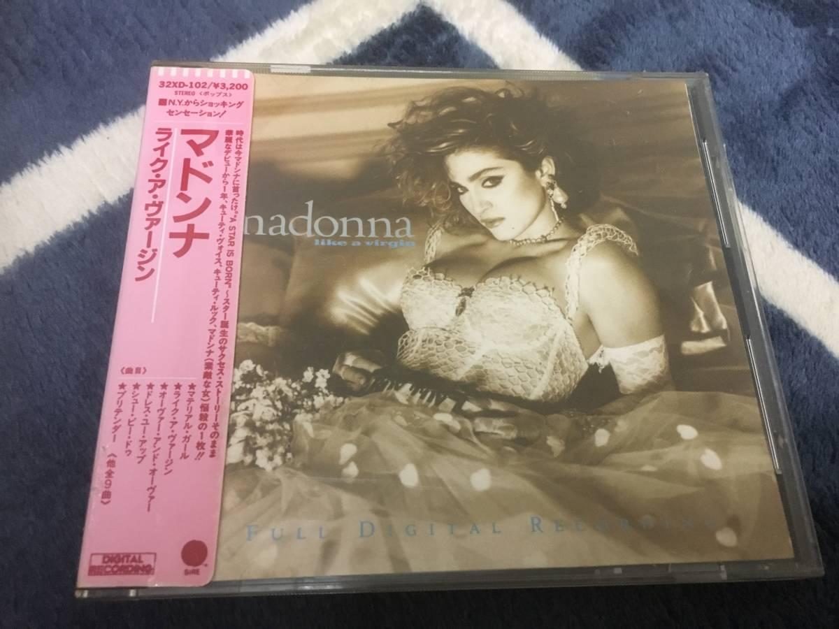 【日本盤:32XD-102,3200円シール帯】Madonna,マドンナ/Like A Virgin,ライク・ア・ヴァージン(帯付)
