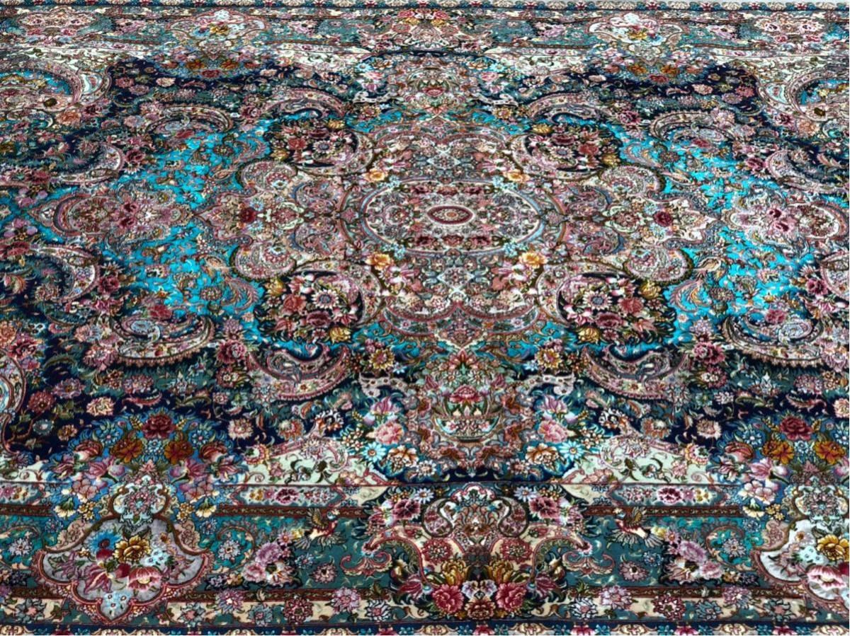 """ペルシャ絨毯 """"傑作""""シルク タブリーズ 315×204cm 60RAJ_画像3"""