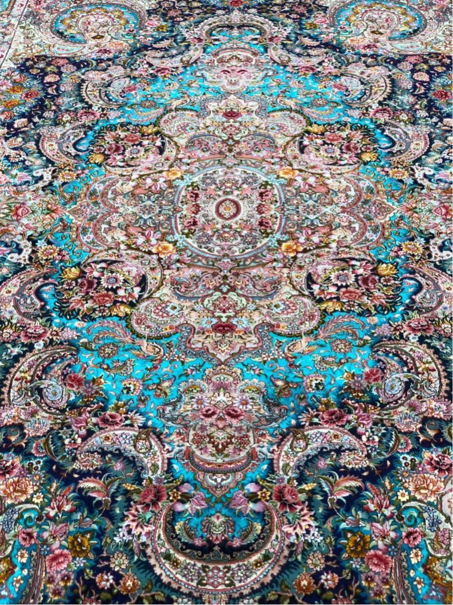 """ペルシャ絨毯 """"傑作""""シルク タブリーズ 315×204cm 60RAJ_画像4"""