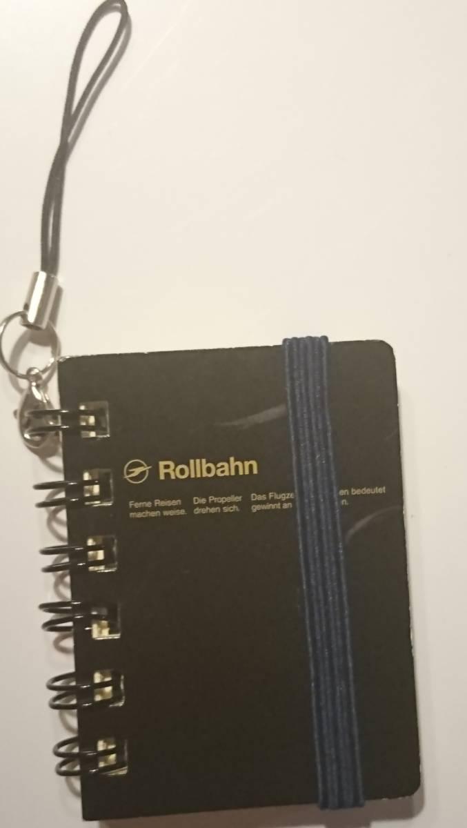 即決 ミニチュア文具 ストラップ付 mini Rollbahn ロルバーン ノート(6.5㎝×4.9㎝ビニールポケットも再現)未使用保管品_画像1