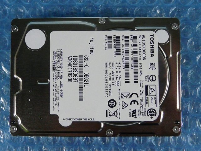 1GIT // TOSHIBA AL13SXB600N 600GB 2.5インチ SAS 6Gb/s 15K(15000)rpm A3C40178238 // Fujitsu PRIMERGY RX300 S8 取外_画像8