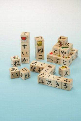 ひらがなさいころつみき 立方体のつみきの5面にひらがなが書かれています 積み木をしながらひらがなやことばの習得にも最適 G283_画像2