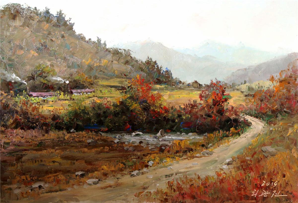 油彩 油絵 絵画 風景画 田舎5 一級画家 肉筆保証 8月18日