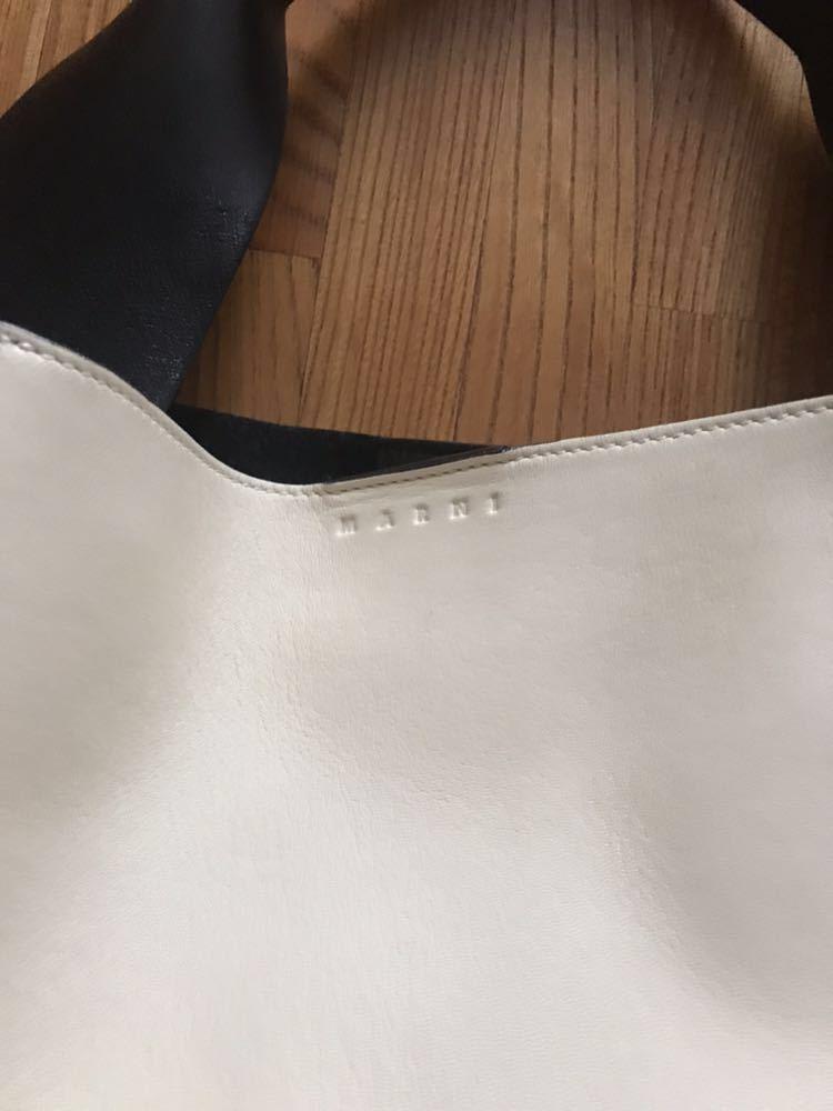MARNI マルニ バイカラー レザートートバッグ ポーチ付き ワンハンドル ハンドバッグ オフホワイト×ベージュ 美品_画像3