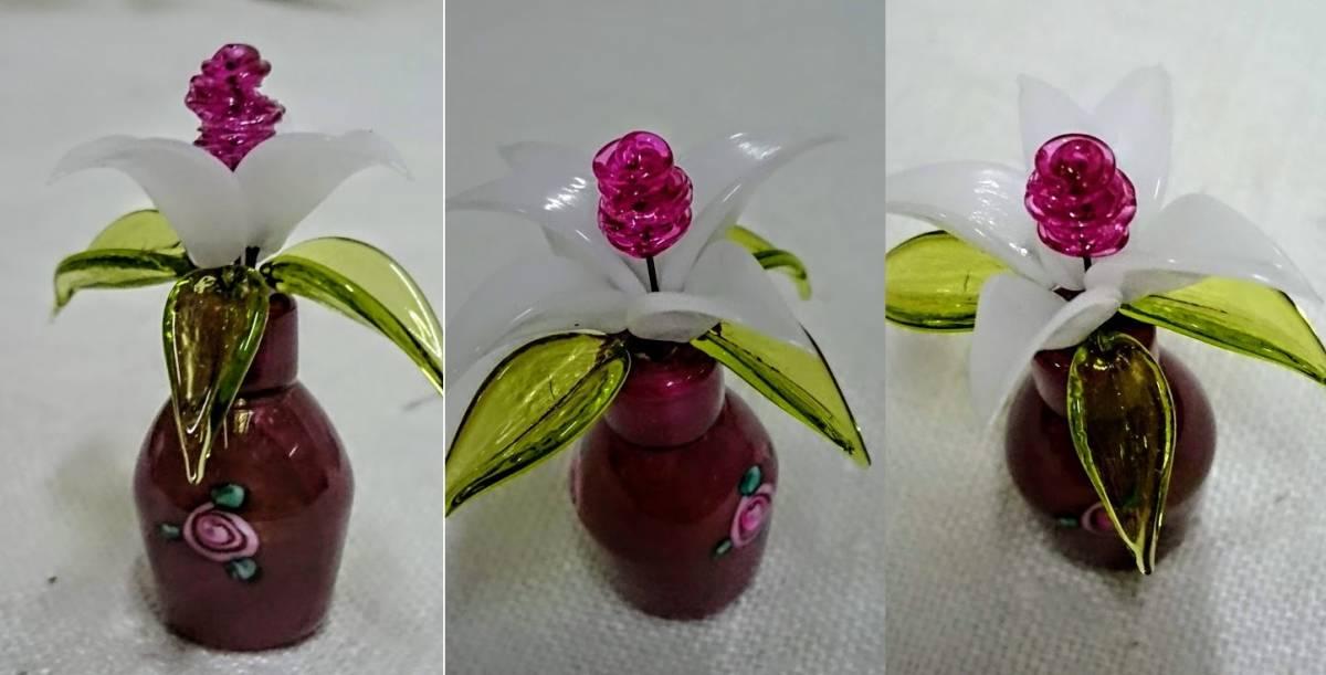 チェコ ボヘミア製のアートガラス フラワー ガラスのお花 ミニチュア オブジェ ガラス細工高さ4cm コレクション インテリア アンティーク _画像3