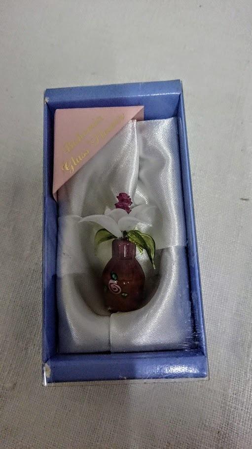 チェコ ボヘミア製のアートガラス フラワー ガラスのお花 ミニチュア オブジェ ガラス細工高さ4cm コレクション インテリア アンティーク _画像9
